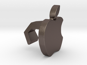 iMac Camera Cover - Apple in Polished Bronzed Silver Steel