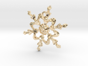 Snowflake Flower 1 - 30mm Ha in 14k Gold Plated Brass