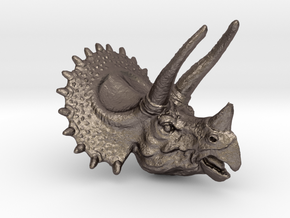 Triceratops Pendant 50mm in Polished Bronzed Silver Steel