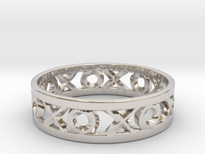 Size 7 Xoxo Ring in Rhodium Plated Brass