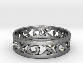 Size 13 Xoxo Ring in Fine Detail Polished Silver