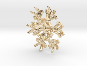 Snowflake Candle Stand 1 - d=60mm in 14k Gold Plated Brass