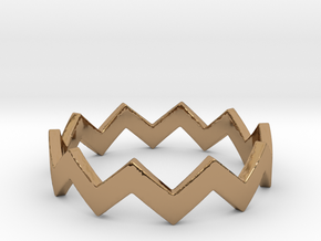 Zig Zag Wave Stackable Ring Size 7 in Polished Brass