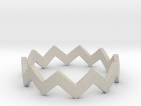 Zig Zag Wave Stackable Ring Size 7 in Natural Sandstone