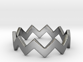 Zig Zag Wave Stackable Ring Size 4 in Fine Detail Polished Silver