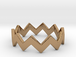 Zig Zag Wave Stackable Ring Size 4 in Polished Brass