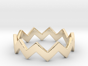 Zig Zag Wave Stackable Ring Size 5 in 14k Gold Plated Brass