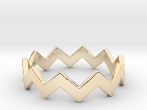 Zig Zag Wave Stackable Ring Size 6 in 14k Gold Plated Brass
