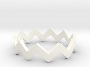 Zig Zag Wave Stackable Ring Size 6 in White Processed Versatile Plastic