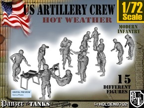 1-72 US Artillery Crew Hot Weather in Smooth Fine Detail Plastic