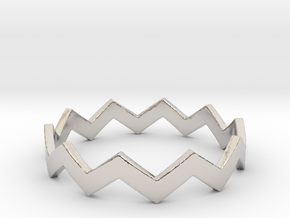 Zig Zag Wave Stackable Ring Size 11 in Platinum