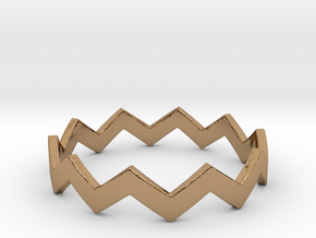 Zig Zag Wave Stackable Ring Size 11 in Polished Brass