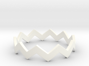 Zig Zag Wave Stackable Ring Size 9 in White Processed Versatile Plastic