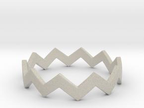 Zig Zag Wave Stackable Ring Size 9 in Natural Sandstone