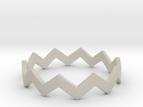 Zig Zag Wave Stackable Ring Size 10 in Natural Sandstone