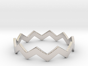 Zig Zag Wave Stackable Ring Size 12 in Platinum