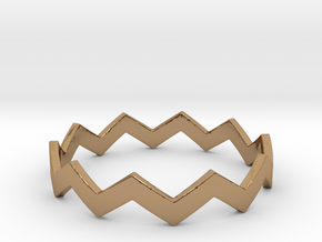 Zig Zag Wave Stackable Ring Size 13 in Polished Brass