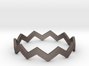 Zig Zag Wave Stackable Ring Size 13 in Polished Bronzed Silver Steel