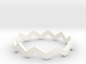 Zig Zag Wave Stackable Ring Size 13 in White Processed Versatile Plastic