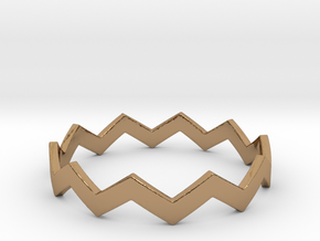 Zig Zag Wave Stackable Ring Size 14 in Polished Brass