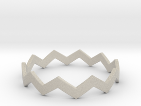 Zig Zag Wave Stackable Ring Size 14 in Natural Sandstone