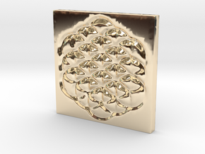 Flower of Life Square Pendant in 14K Gold
