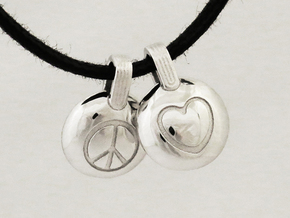 Peace & Love in Rhodium Plated Brass
