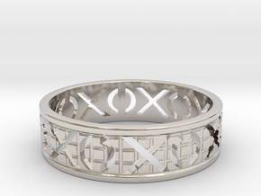 Size 10 Xoxo Ring A in Rhodium Plated Brass