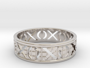Size 11 Xoxo Ring A in Rhodium Plated Brass