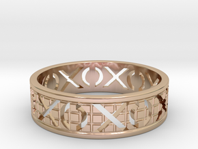 Size 12 Xoxo Ring A in 14k Rose Gold Plated Brass