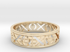 Size 13 Xoxo Ring A in 14k Gold Plated Brass