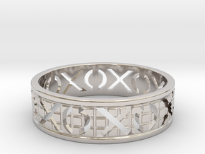 Size 8 Xoxo Ring A in Rhodium Plated Brass