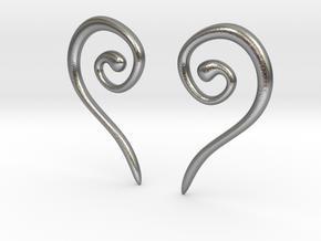 Medieval Half Heart pair of earrings in Natural Silver