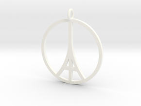 Paris Peace Pendant in White Processed Versatile Plastic