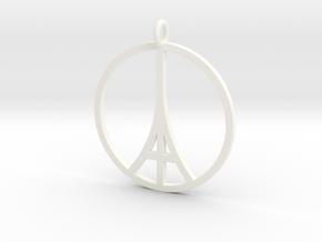 Paris Peace Pendant in White Processed Versatile Plastic