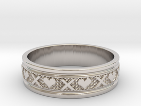 Size 7 Xoxo Ring B in Rhodium Plated Brass