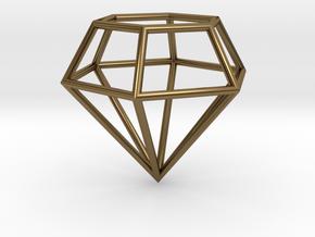 Diamond Frame Pendant in Polished Bronze