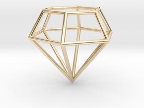 Diamond Frame Pendant in 14k Gold Plated Brass