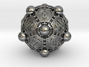 Nucleus D20 in Fine Detail Polished Silver
