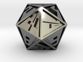 Vanishing Point d20, Solid in Polished Silver