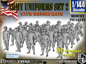 1-144 Army Modern Uniforms Set2 in Smooth Fine Detail Plastic