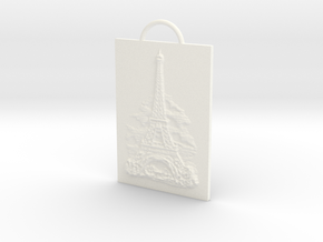Eiffel Tower - Paris, France - Solidarity Pendant in White Processed Versatile Plastic