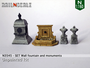 SET Wall fountain with monuments (N 1:160) in Smooth Fine Detail Plastic