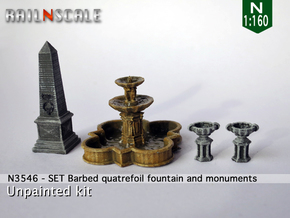 SET Quatrefoil fountain with monument (N 1:160) in Smooth Fine Detail Plastic