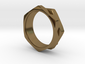 Double Hex Nut Ring in Polished Bronze