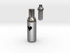 Message In A Bottle -Open Heart Version in Polished Silver