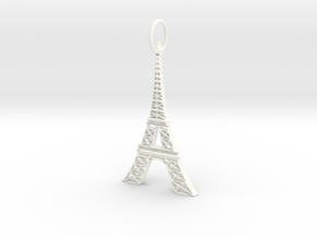 Eiffel Tower Earring Ornament in White Processed Versatile Plastic