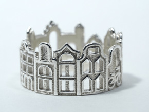 Amsterdam Cityscape - Skyline Ring in Polished Silver