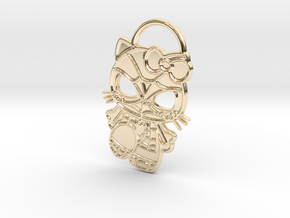Hello Spider-Kitty Keychain in 14K Yellow Gold