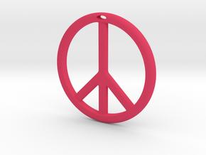 Peace Symbol in Pink Processed Versatile Plastic